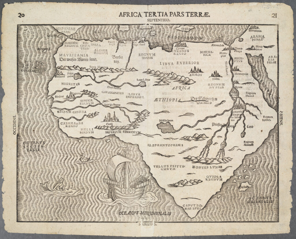 Heinrich Bünting's Map of Africa from Travel through Sacred Scripture, Magdeburg, Germany, 1597