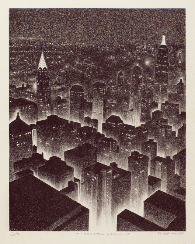 <em/>Manhattan Midnight, ca. 1930, Ellison Hoover. Lithograph, 11 15/16 × 8 11/16 in. The Huntington Library, Art Collections, and Botanical Gardens. Gift of Hannah S. Kully