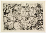 <em/>Frenzied Effort, 1925, Peggy Bacon. Etching, 5 7/8 × 9 in. © The Estate of Peggy Bacon. The Huntington Library, Art Collections, and Botanical Gardens. Gift of Mrs. Homer D. Crotty
