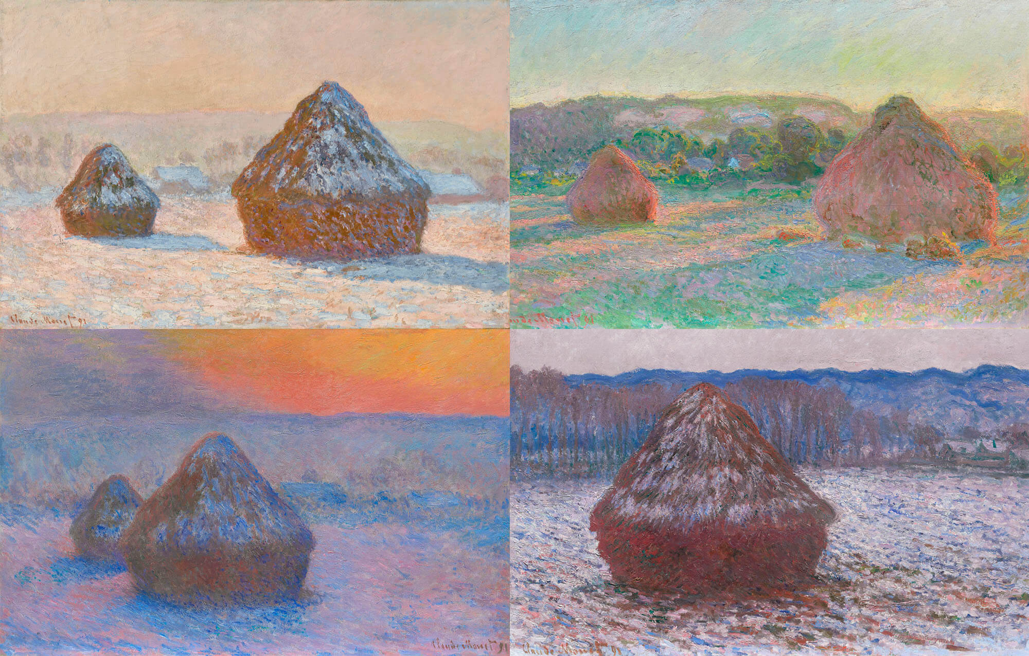 Four of Monet's paintings of stacks of wheat, three in snow, one in the sun with green trees.