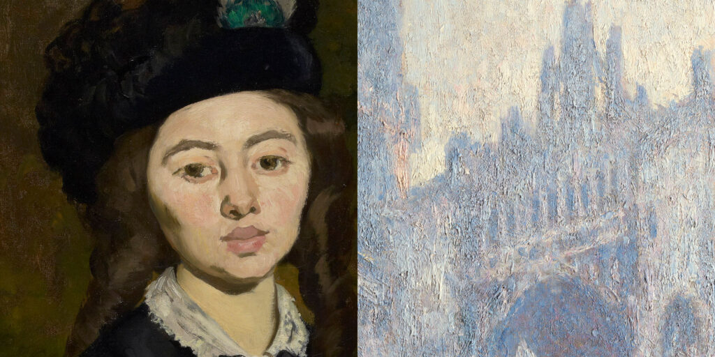 Left, face of a woman with brown hair wearing a black hat and white collar. Right, closeup of the top of Rouen Cathedral.