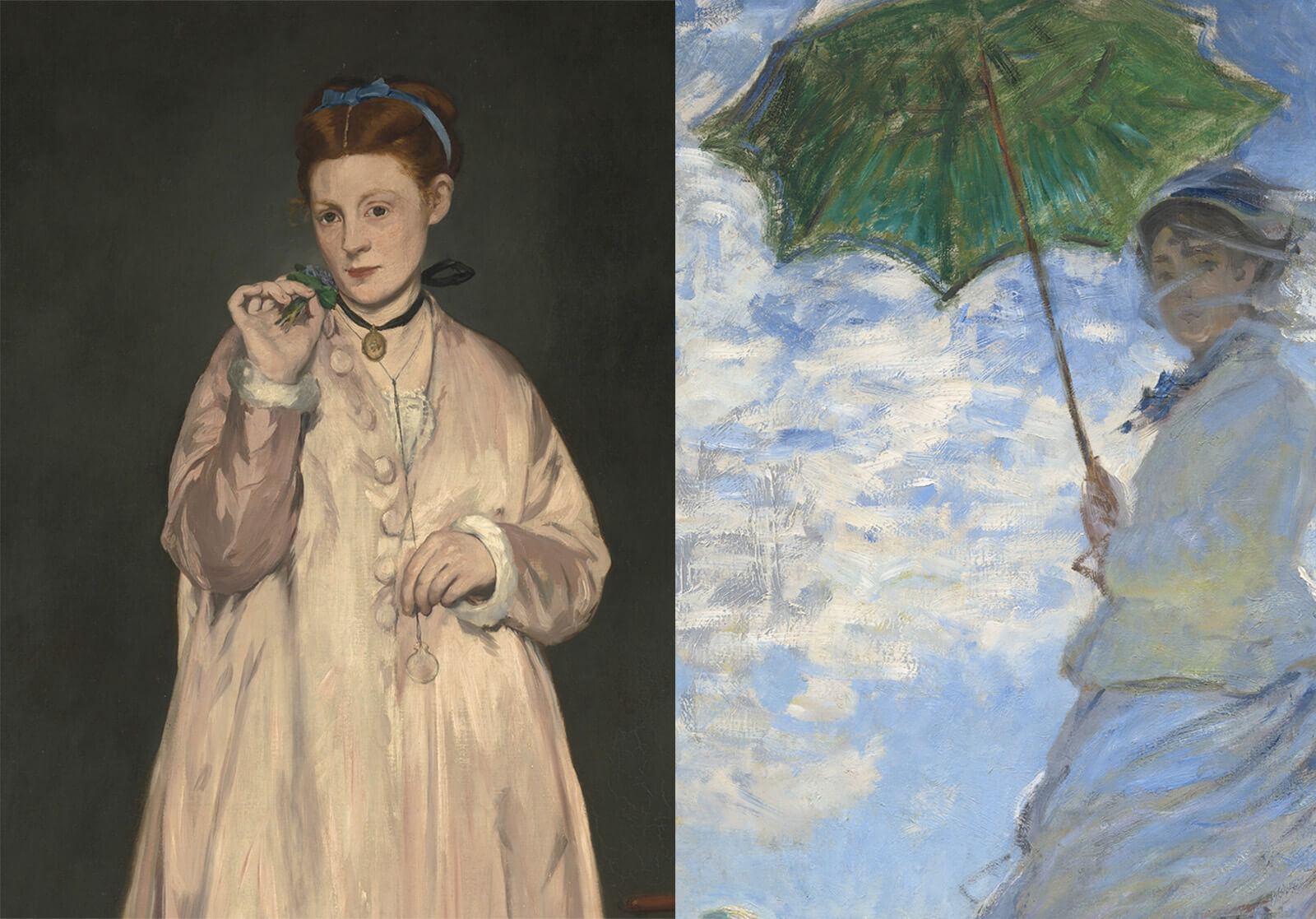 Left, a woman in a white coat with large buttons, wearing a blue hair ribbon and a black ribbon choker. Right, a woman in white jacket and skirt holds a green umbrella, backlit by a partly cloudy sky.