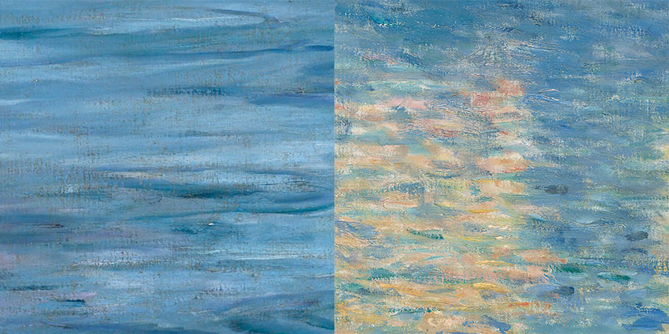 Left, closeup of water. Right, closeup of sun reflection on water.