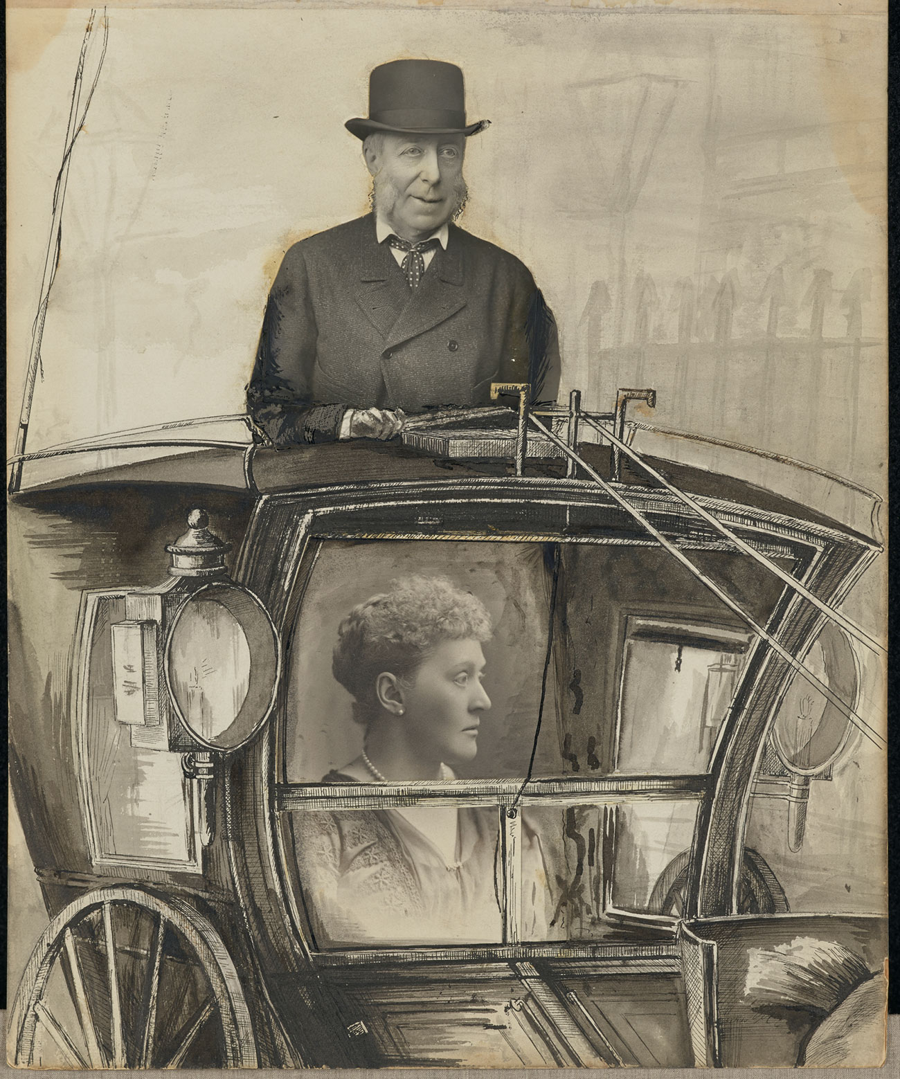 drawing of a horse-drawn buggy with photos of a woman and a man superimposed as passenger and driver.