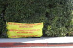 A banner of thanks from the neighborhood surrounding the Getty Center