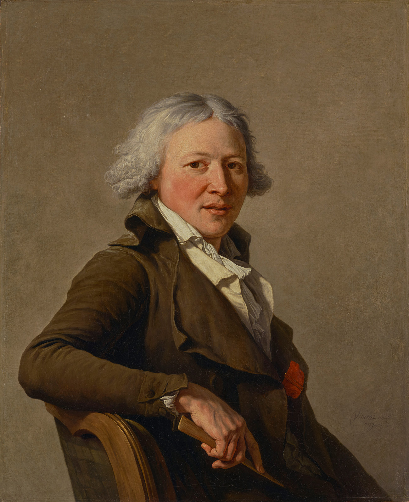 Upper body portrait of a seated, gray-haired man wearing a brown coat and white shirt and ascot.