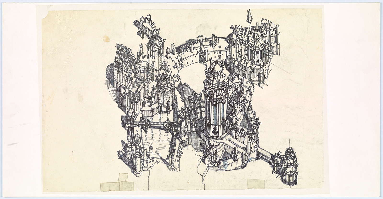 Intricate sketch of a walled city