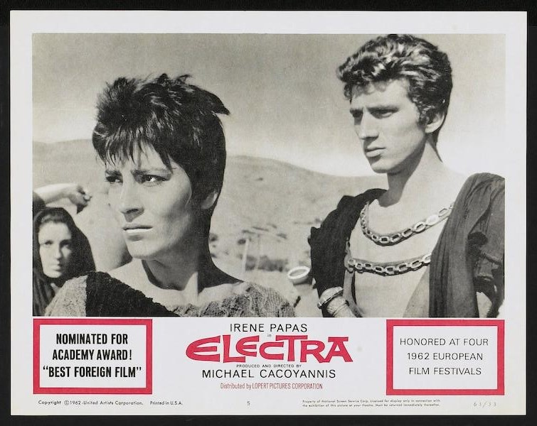 Movie poster for 1962 movie Electra, featuring Irene Papas