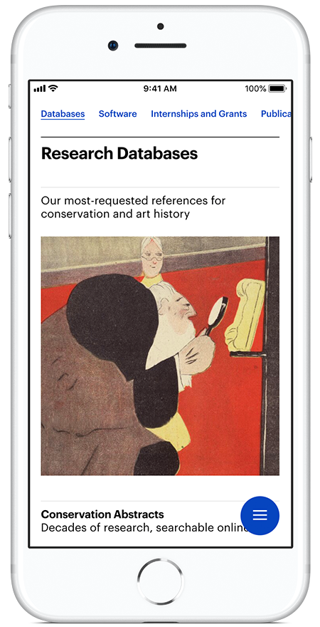 """Screen capture of an iPhone showing a mobile website screen with the header """"Research Databases"""" and a modern artwork image"""