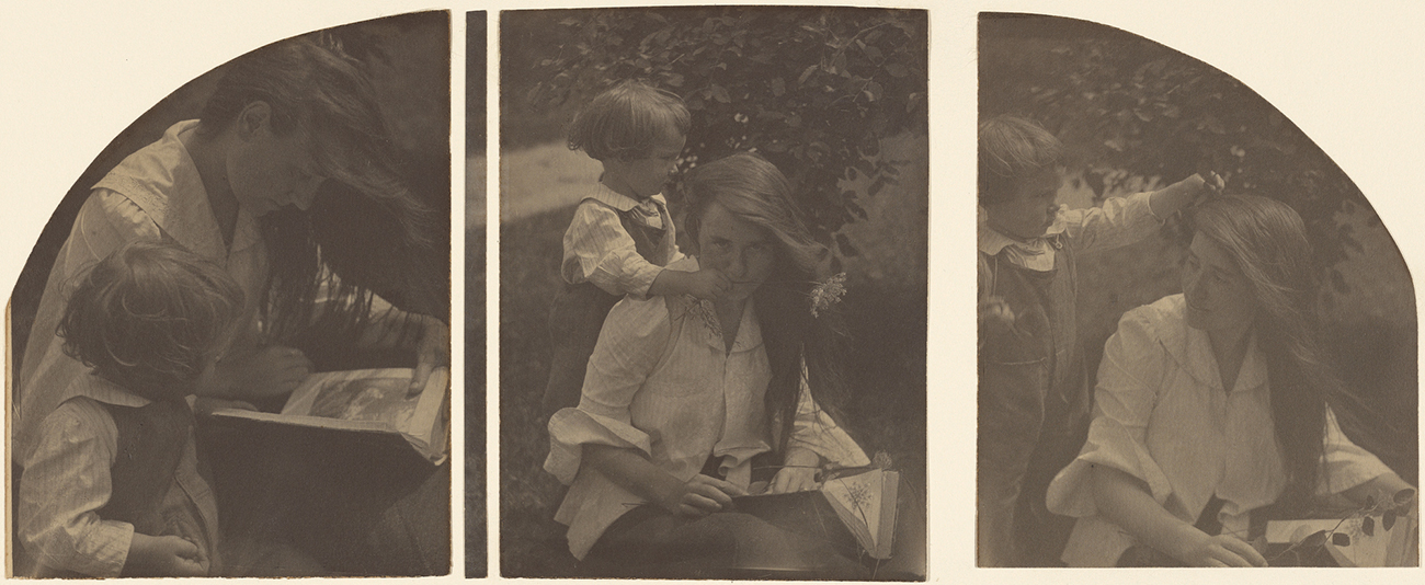 Triptych of a seated woman with long hair and a white shirt, reading a book to a very young child.
