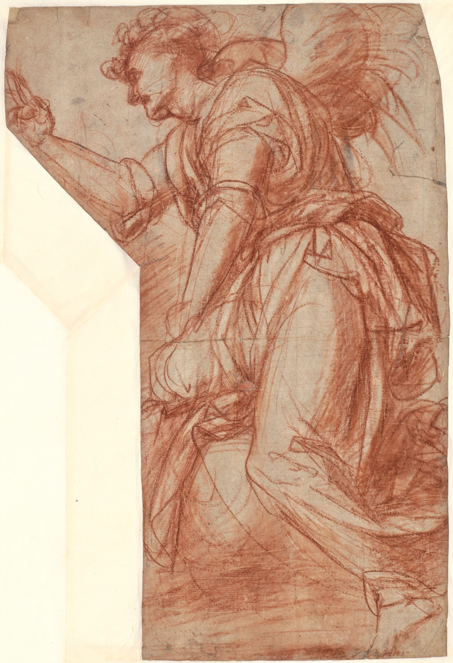 Red chalk drawing of a side view of a person wearing pants and a toga
