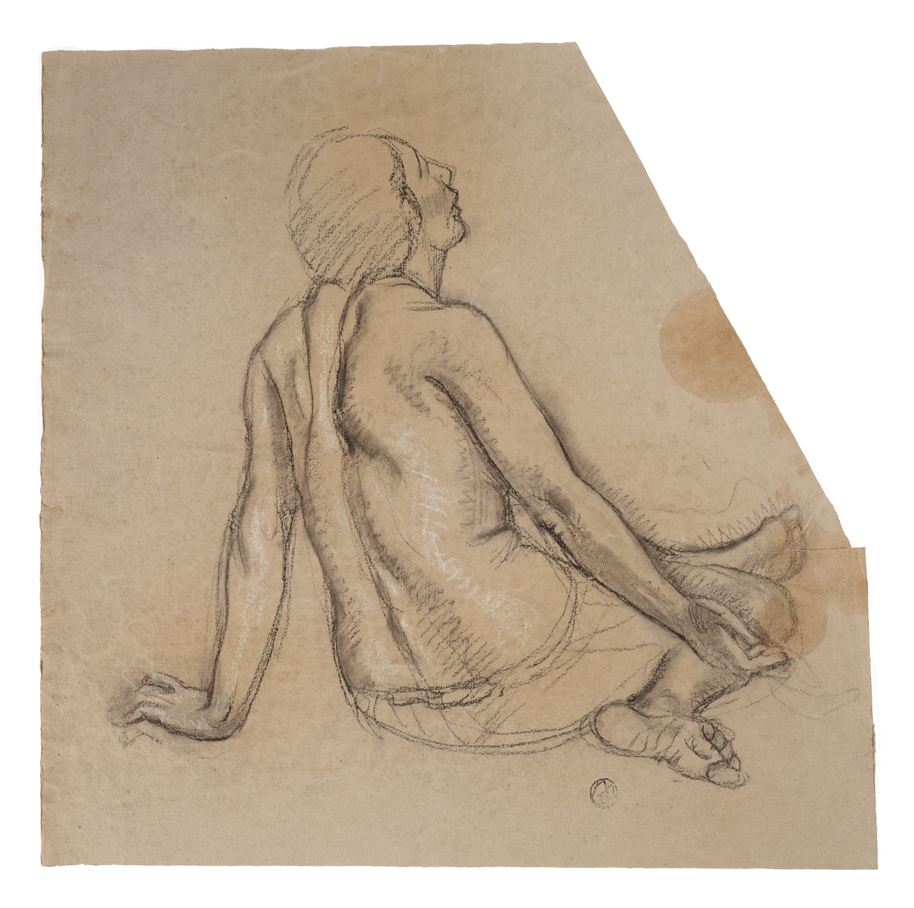 charcoal drawing of a shirtless person sitting on the ground, as viewed from behind.