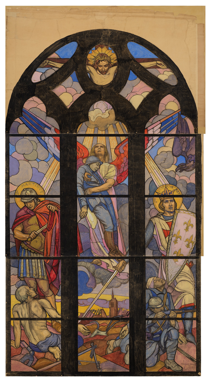 Painted to look like a stained glass, arched panel, portraying crucified Jesus, an angel with red, white and blue wings holding a person dressed in blue; a crusader and a Roman soldier; a soldier with a rifle; and a shirtless person who looks emaciated.