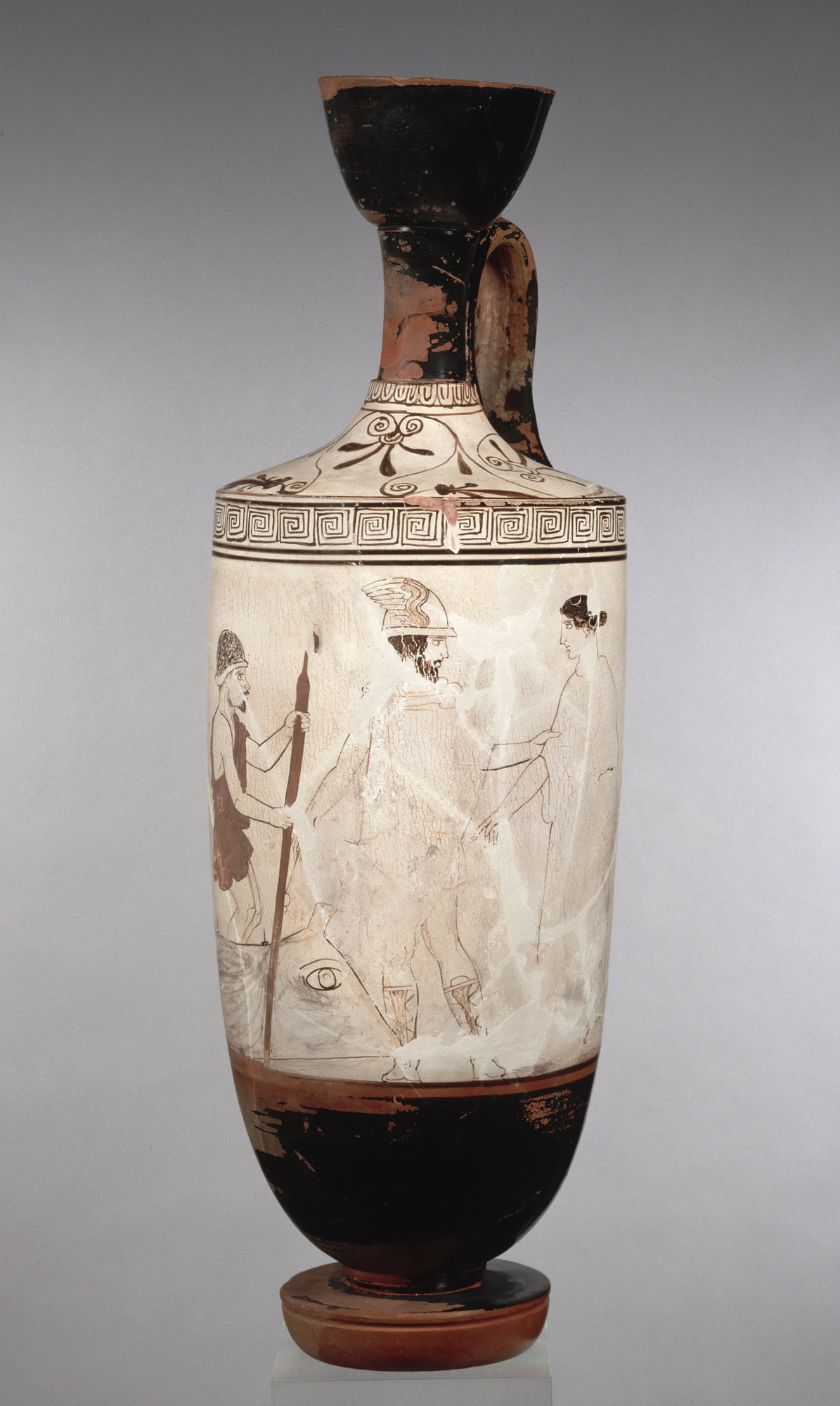 Tall vase with white body, painting with three figures--a soldier on the left, Hermes in the middle, and a woman on the right.