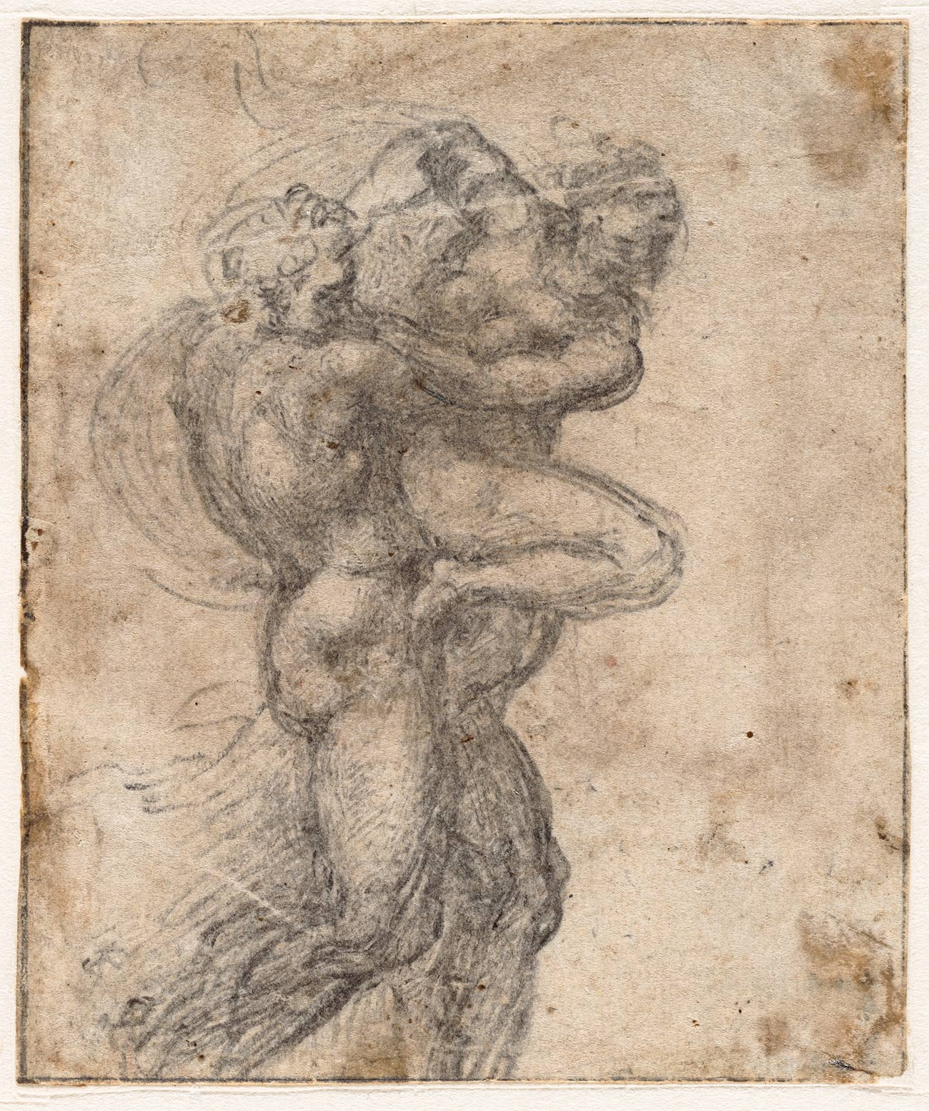 Sketch of nude male carrying a nude female
