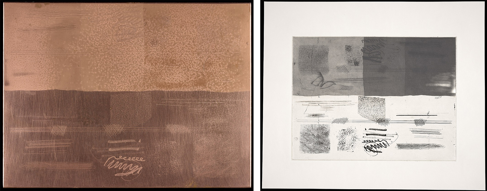 Copper test plate on left, print of textures and scribbles on right