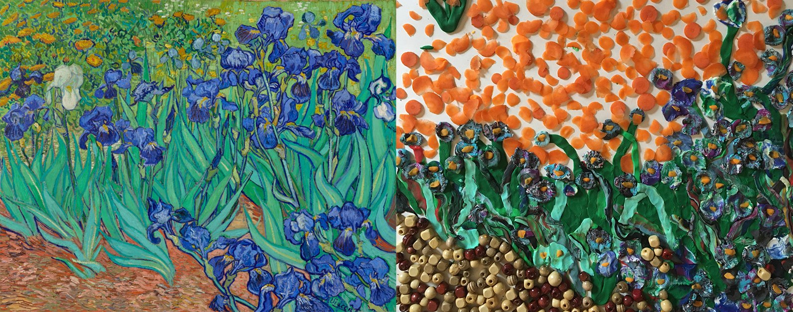 Van Gogh's Irises on the left--purple flowers with bright green stems. Mixed media recreation on the right.