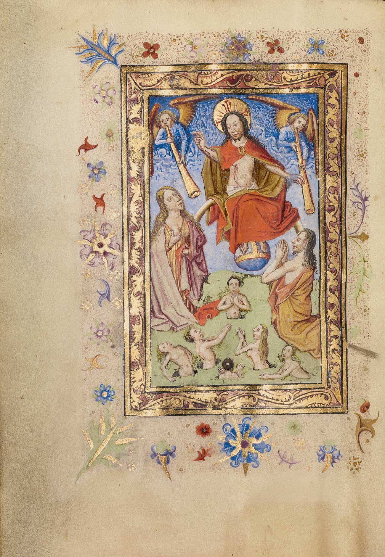 Jesus floats in the sky with two angels blowing horns while two robed people and several nude figures pray below him.