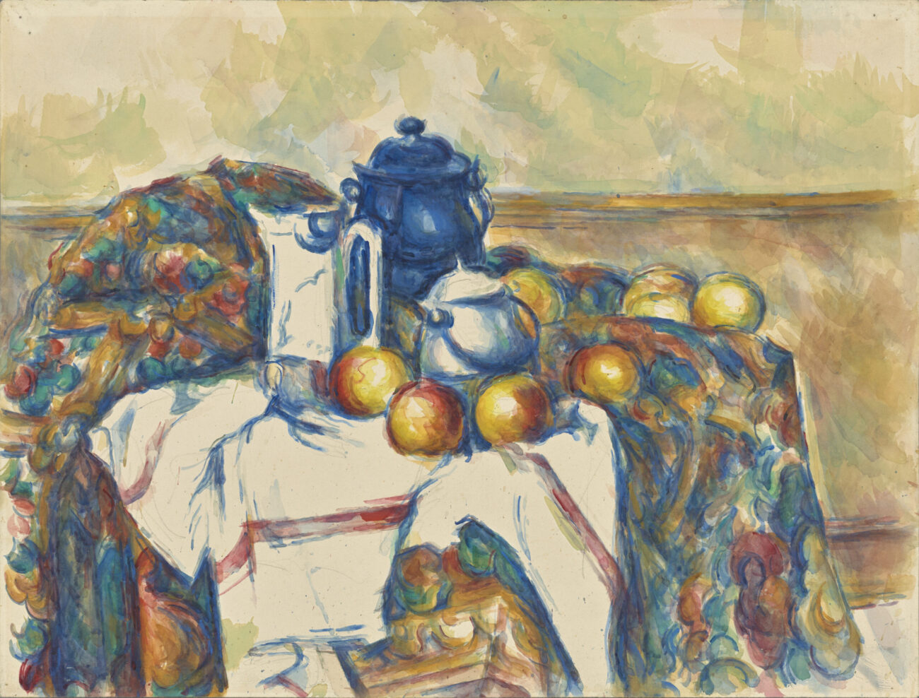Cezanne watercolor of a blue teapot with oranges