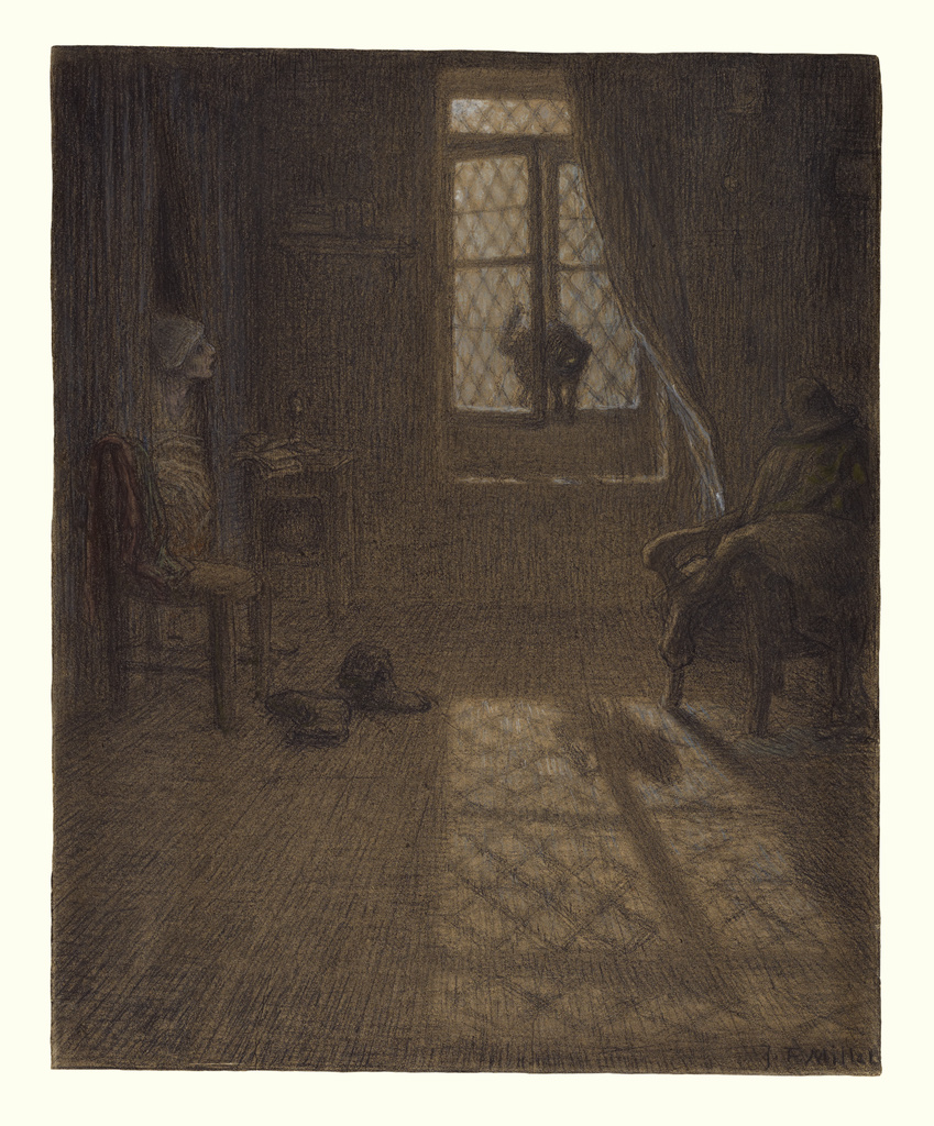 A dark room lit only by the double-paned window where a cat is coming in from outside. A person peeks into the room from the door on the left.