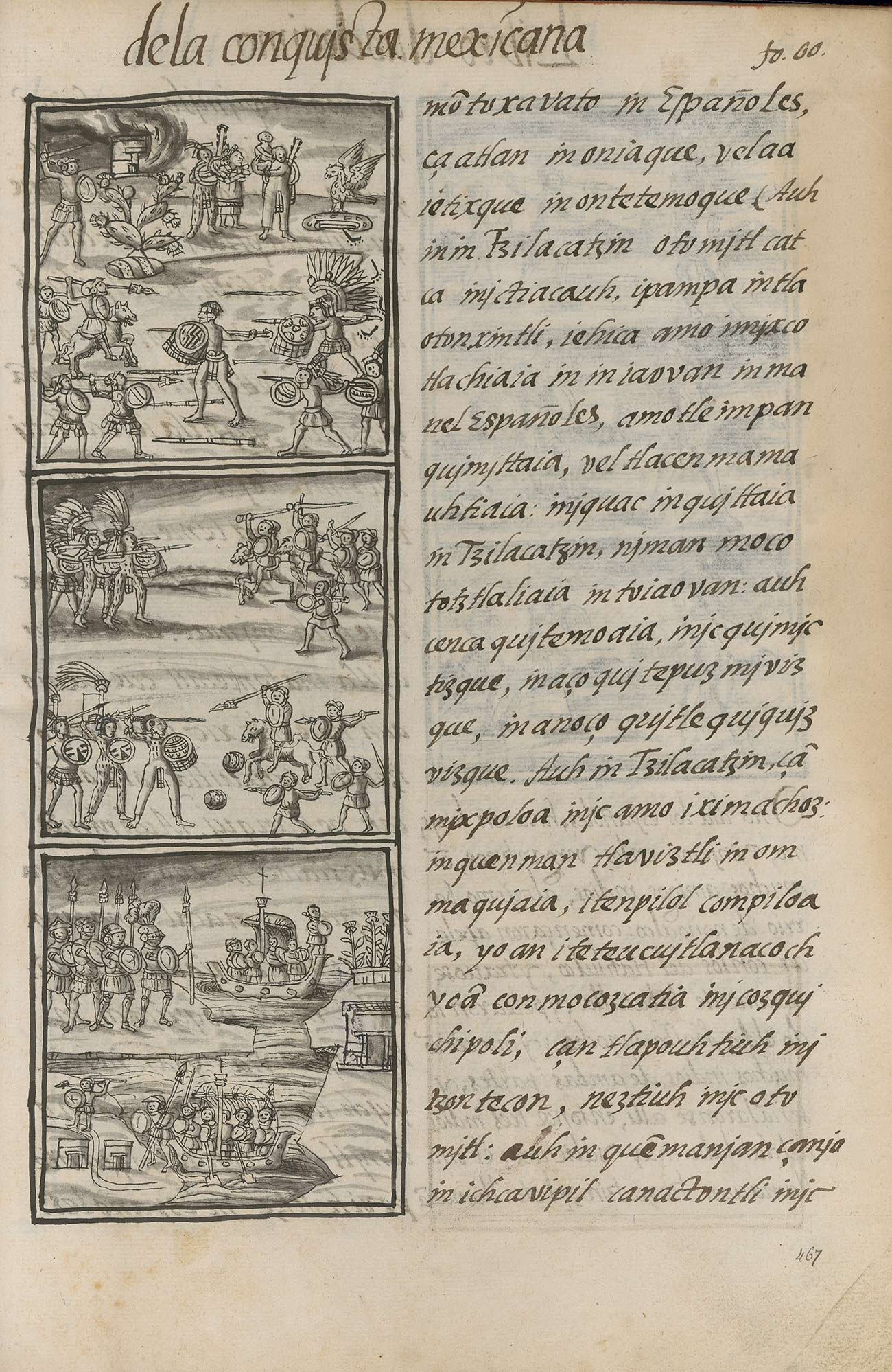 A page with text on the right and illustrations on the left of indigenous people fighting against armored people on horses and in boats.