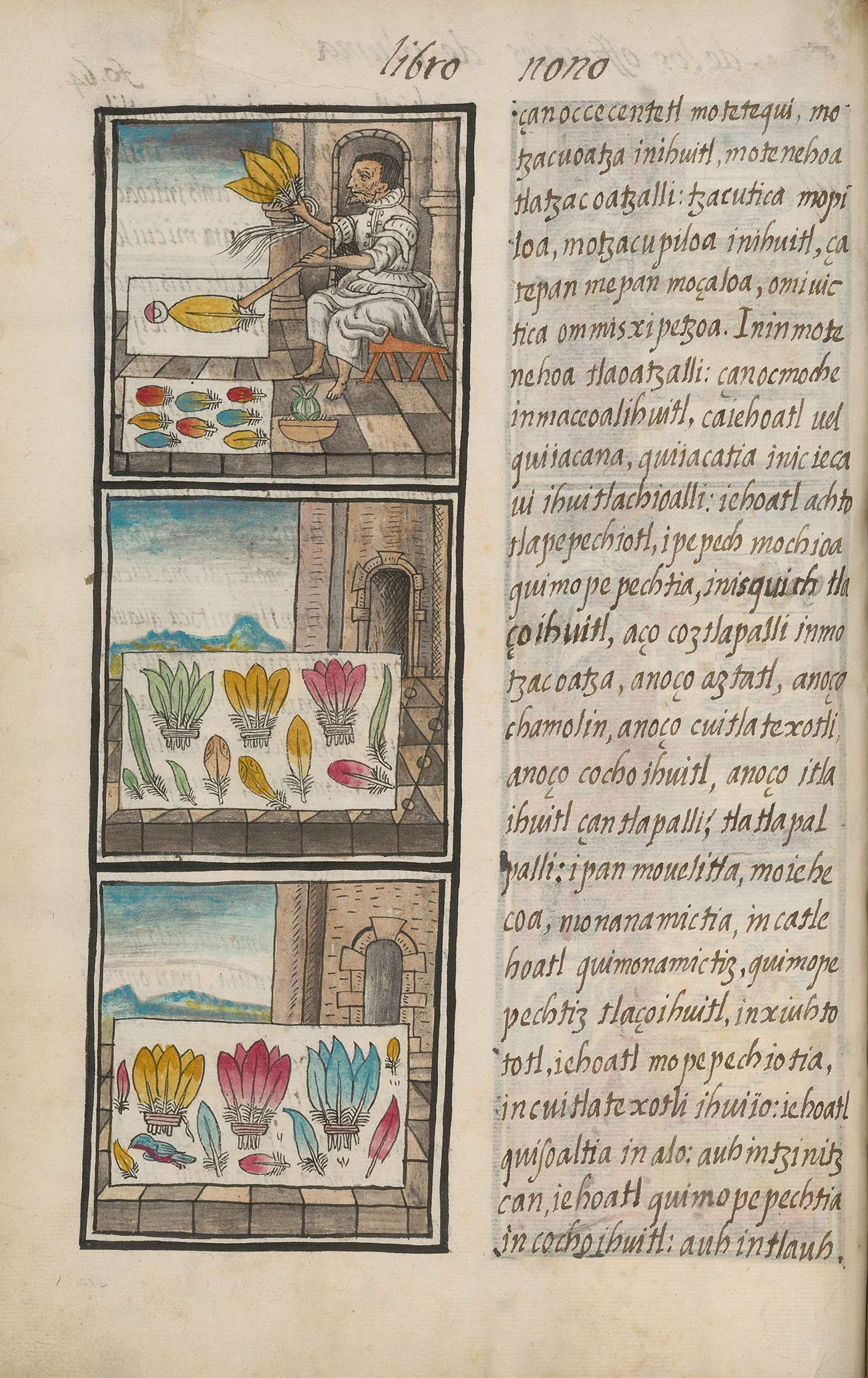 A page with text on the right, and three illustrations on the left showing a person placing feathers on a white sheet.