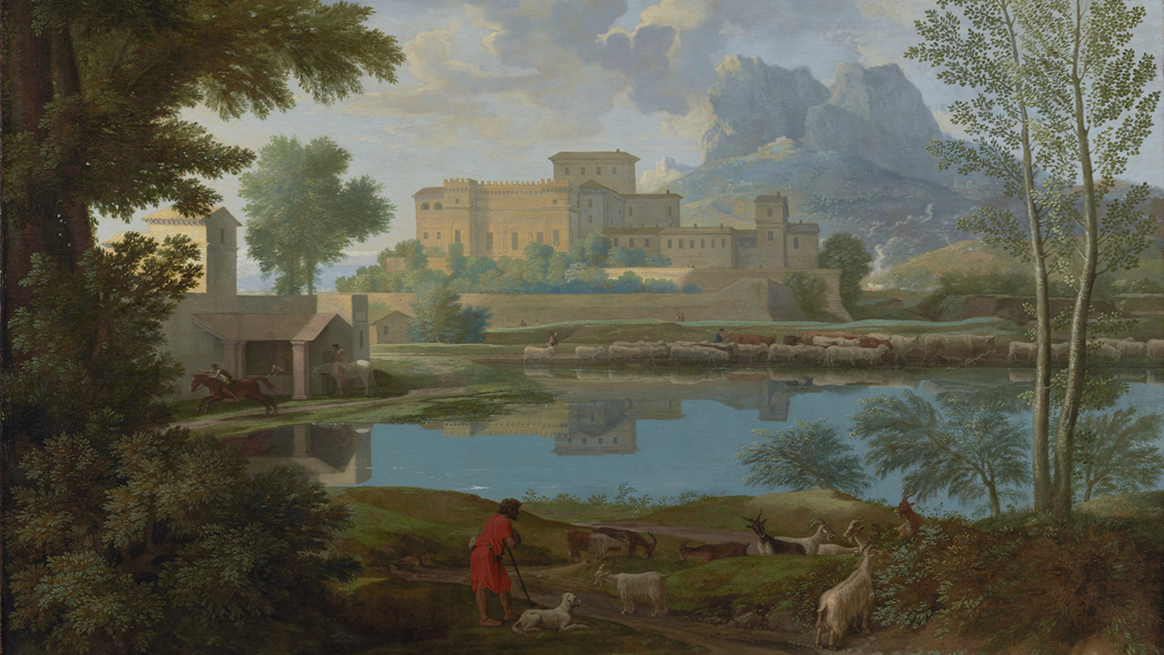 A red-garbed shepherd and his dog herd goats on a hillside overlooking a lake . Along the lake are a house, a person on a horse, and a herd of cows, and beyond them, a walled castle or fortress.