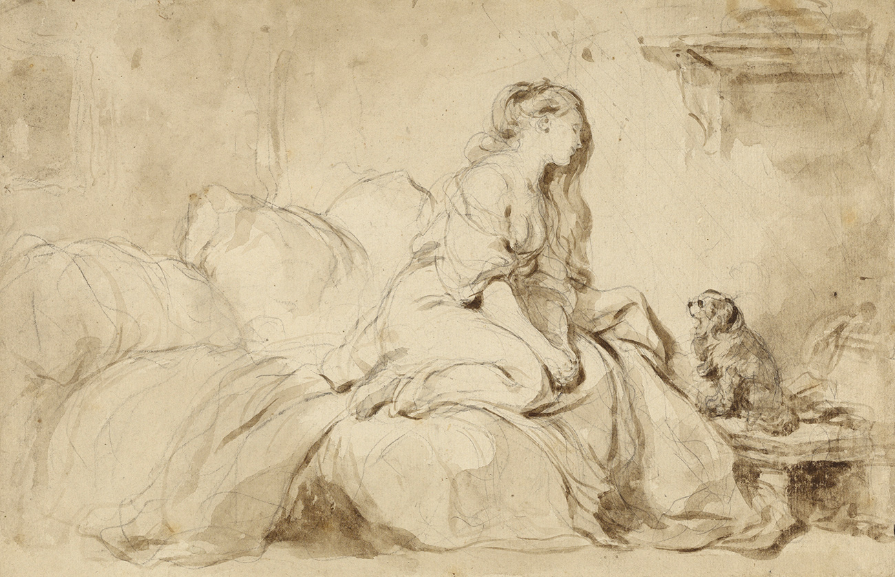 Sketch of a bare-breasted woman on a bed looking down on her spaniel-esque dog which sits on a side table looking up at her.