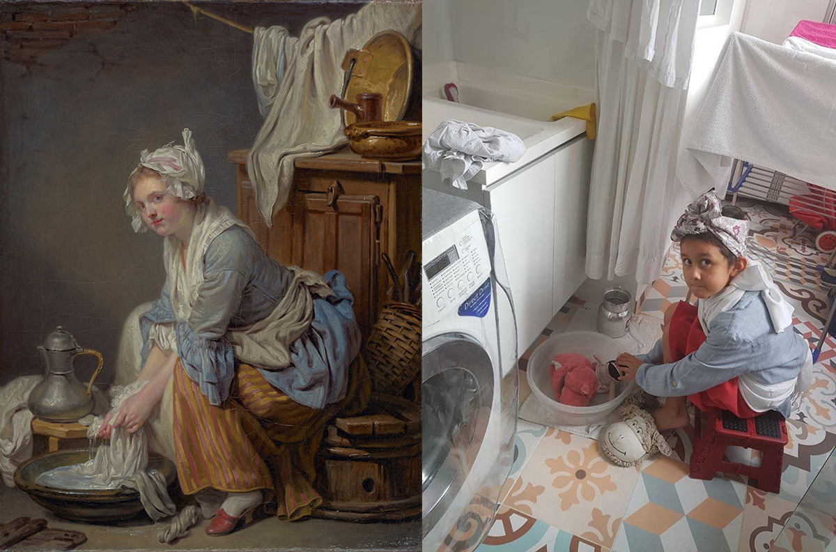 Left: Greuze's Laundress shows a woman in blue with white apron sitting on a stool. Right: photo of a child in blue on a stool next to a washer and dryer.