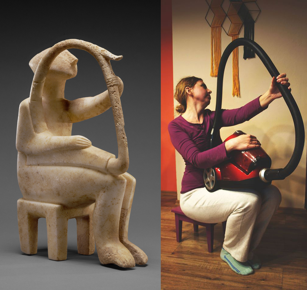 Sculpture on left of person with harp. Recreation on right with person holding a canister vacuum.