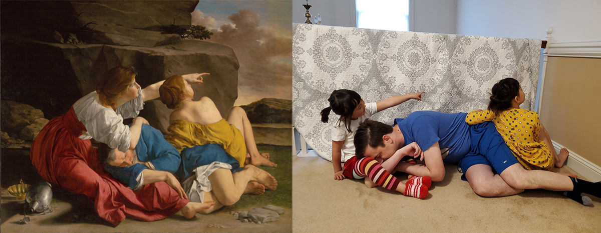 Left: Lot with his two daughters on the ground behind a rock formation. Right: A man and two young girls lying on the floor in front of a patterned cloth.