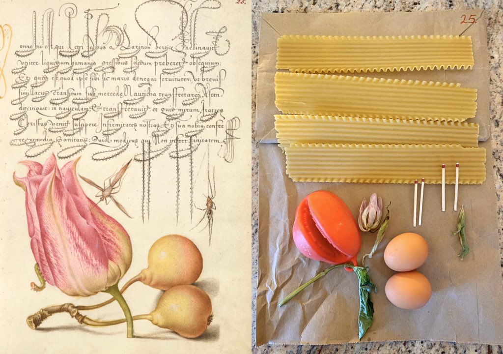 Manuscript page on left with a pink flower. Recreation on right with noodles and eggs.