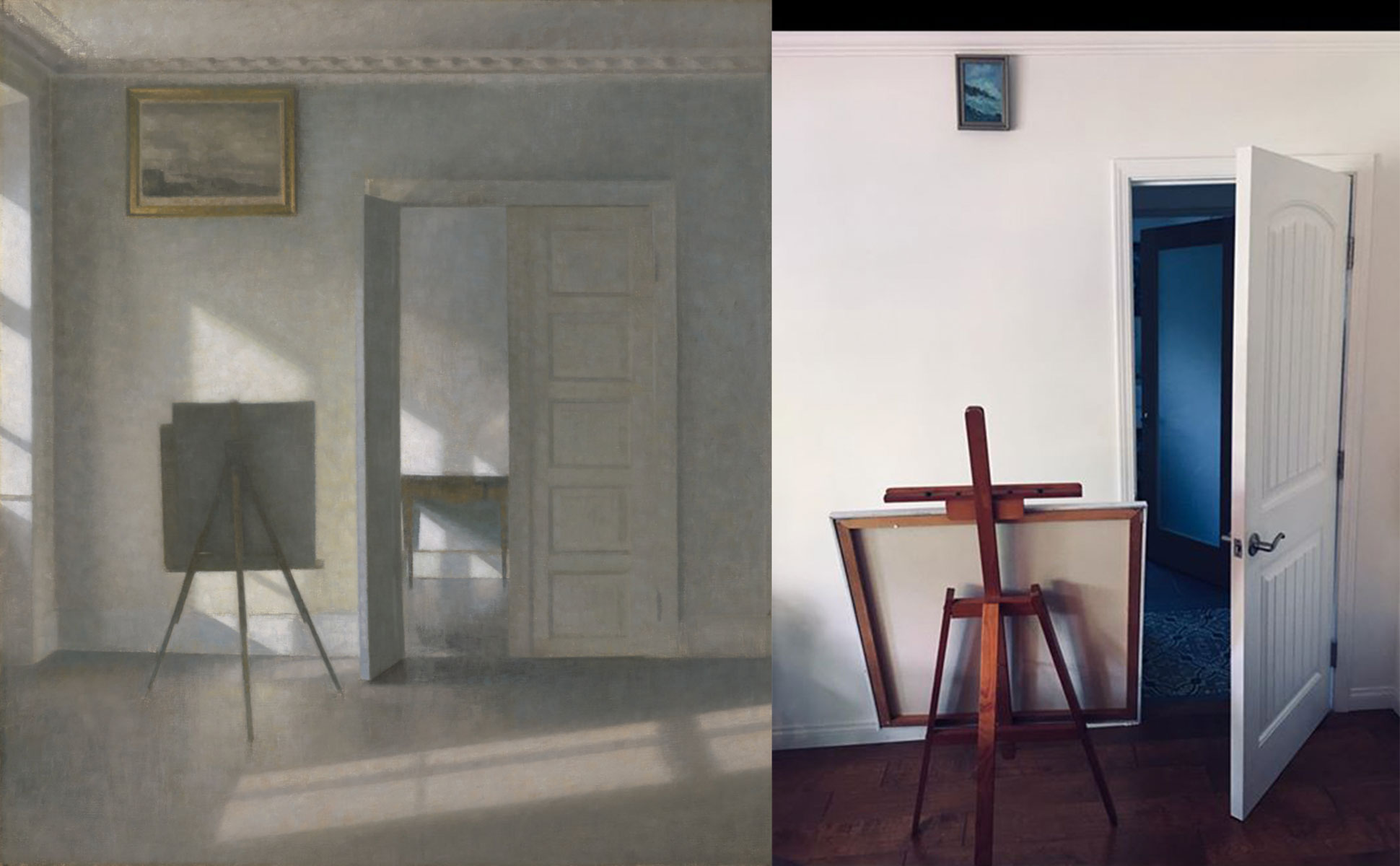 Left: painting of inside room with an easel. Light from a window on the left shines across the floor. Right: Wooden easel against a white wall next to an open door.
