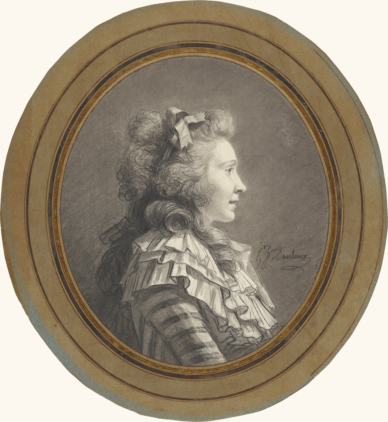 Cameo portrait of woman facing right, with long curly hair and a frilly striped top.