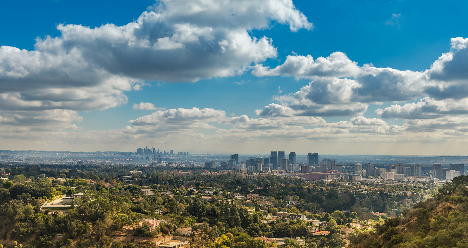 Aerial view of Los Angeles as seen from the Getty Center, looking east.