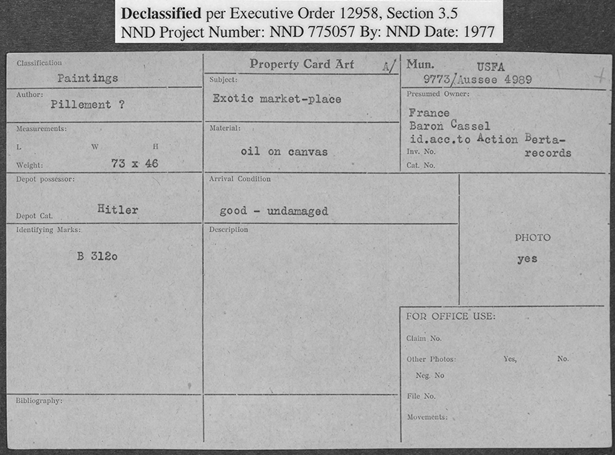 Card that says 'Property Card Art'. Label at top says Declassified per Executive Order 12958, Section 3.5, NND Project Number: NND 775057, by: NND, Date: 1977