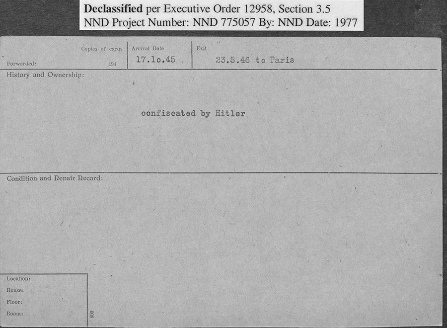 Card that says 'confiscated by Hitler'. Label at top says Declassified per Executive Order 12958, Section 3.5, NND Project Number: NND 775057, by: NND, Date: 1977