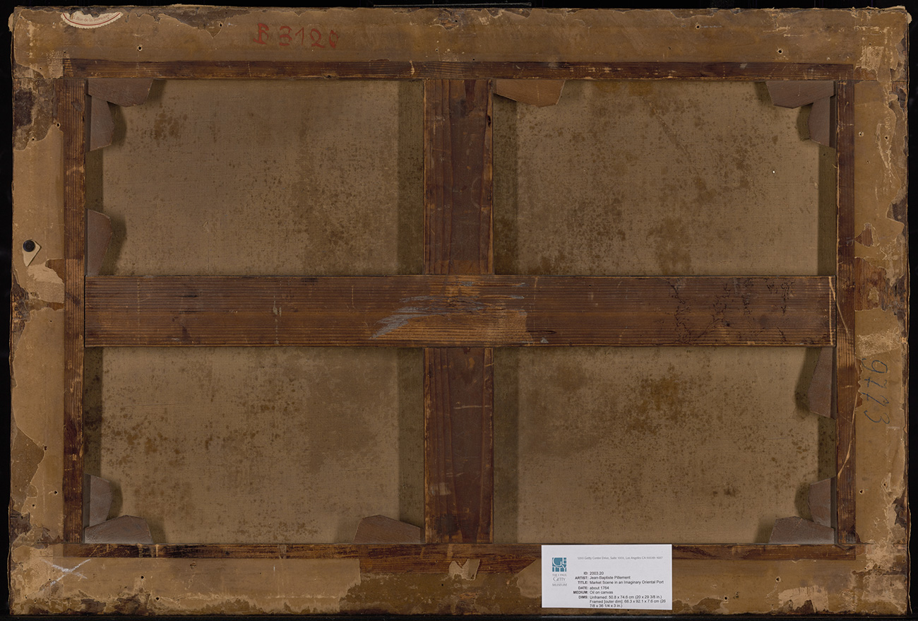 Backside of a frame, with wooden slats crossing perpendicularly. Along the bottom is a white card with the Getty logo and some text.