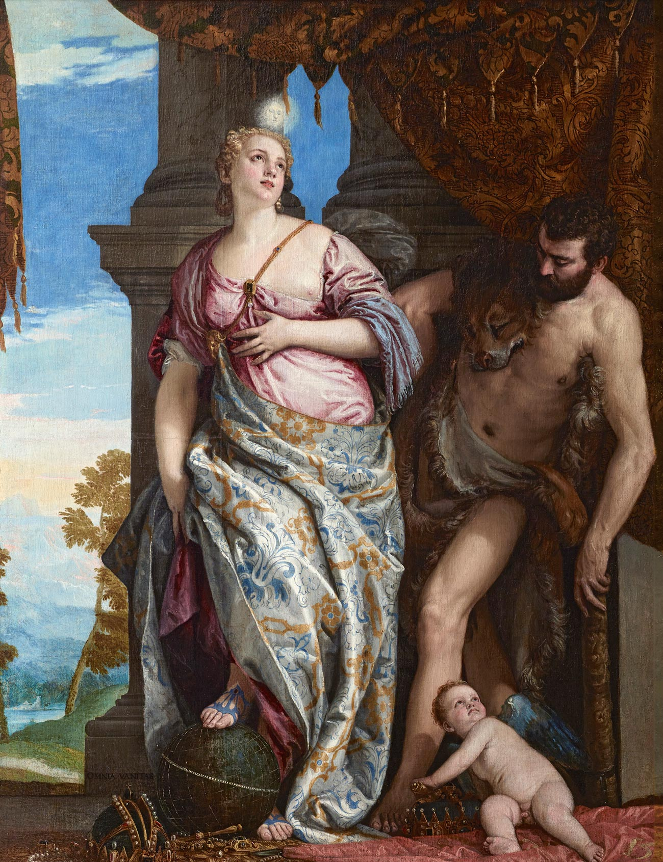 Wisdom is a woman in a pink dress with one bare breast, and a shiny wrap with blue and gold print. Strength is a bearded man in a loincloth with a dead animal over his right shoulder. At their feet is a winged cherub.