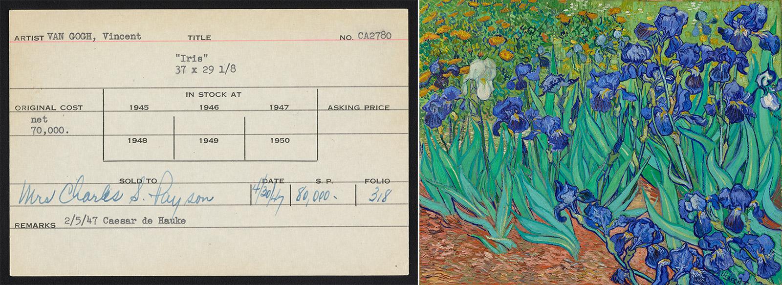 Left: index card for Van Gogh's Iris [sic], $80,000, 4-30-47. Right: Irises