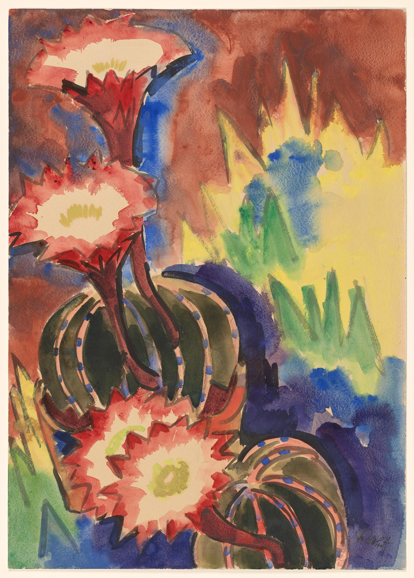 Brilliant red blooms rise up out of two round cactuses against a reddish and yellow background.