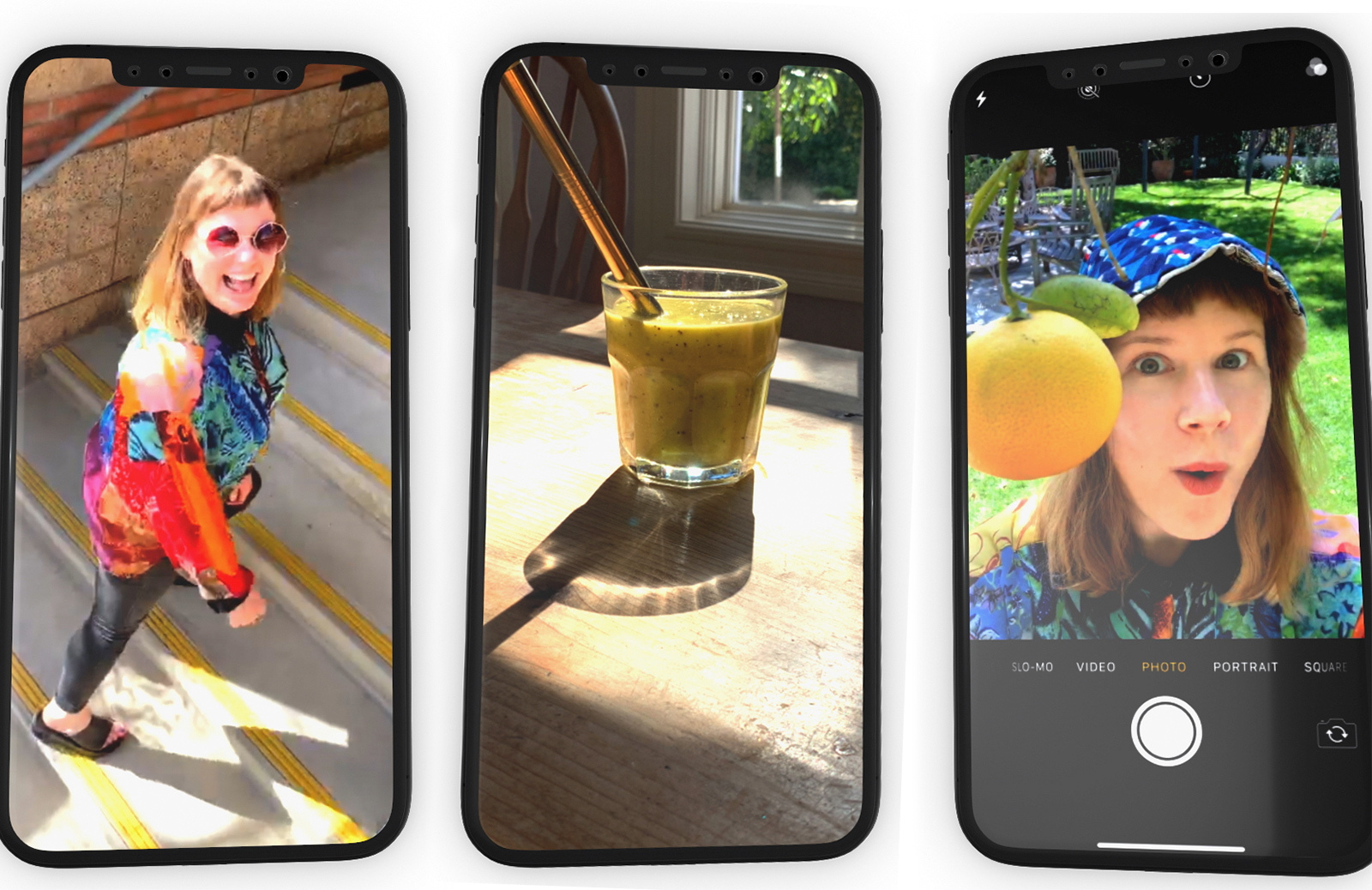 three iphones show images of a person looking up, a glass of coffee and a person with a tree