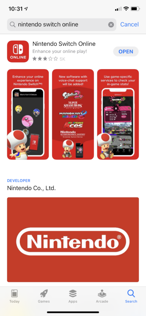 A view of the app store showing the Nintendo Switch Online app for download.