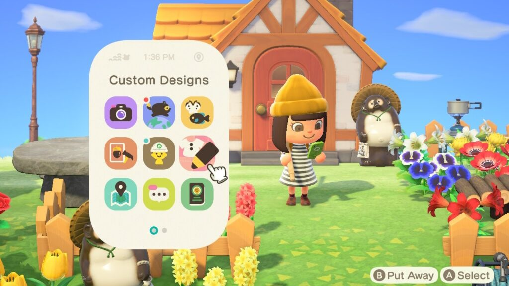 "Screenshot of Animal Crossing and a character accessing the NookPhone and selecting ""Custom Designs"""