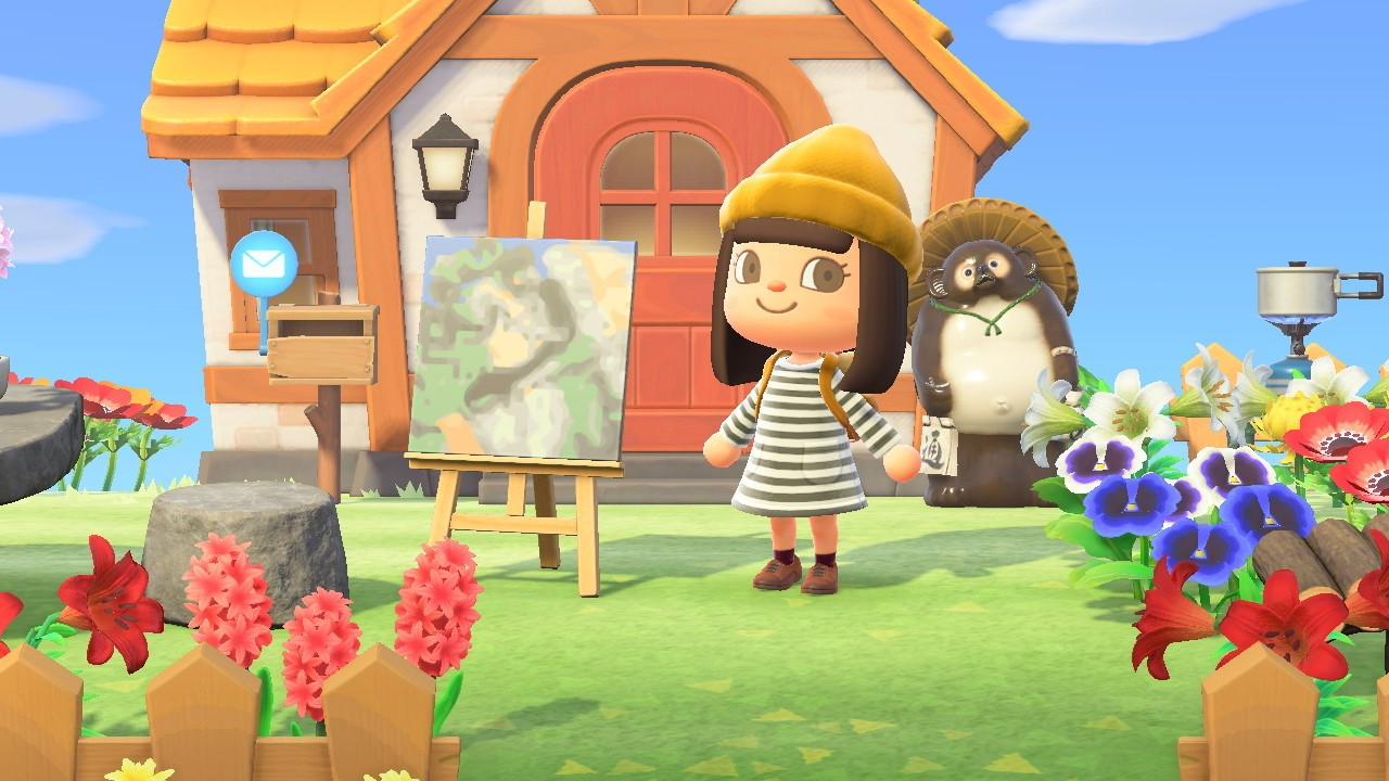 "A screenshot from Animal Crossing showing a character standing in front of their home with a Getty artwork, Manet's ""Spring,"" on an easel."