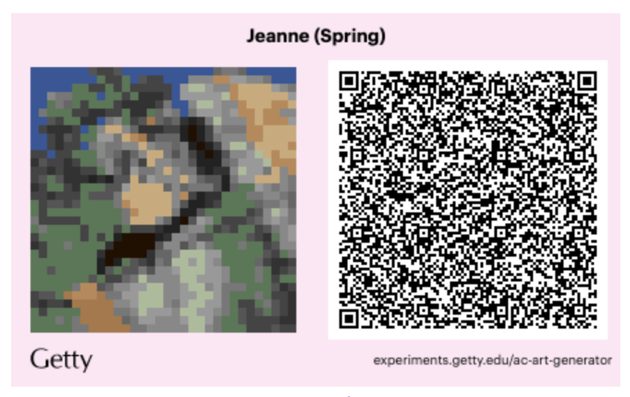 A sample of what the downloadable QR code looks like that will bring Manet's 'Spring' into your Animal Crossing game.