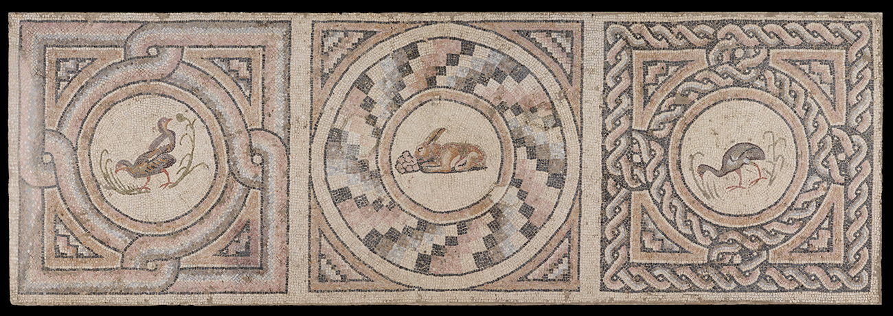 Three decorative squares. Left to right, they feature 1-ducks, 2-a rabbit, and 3-a long-beaked bird.