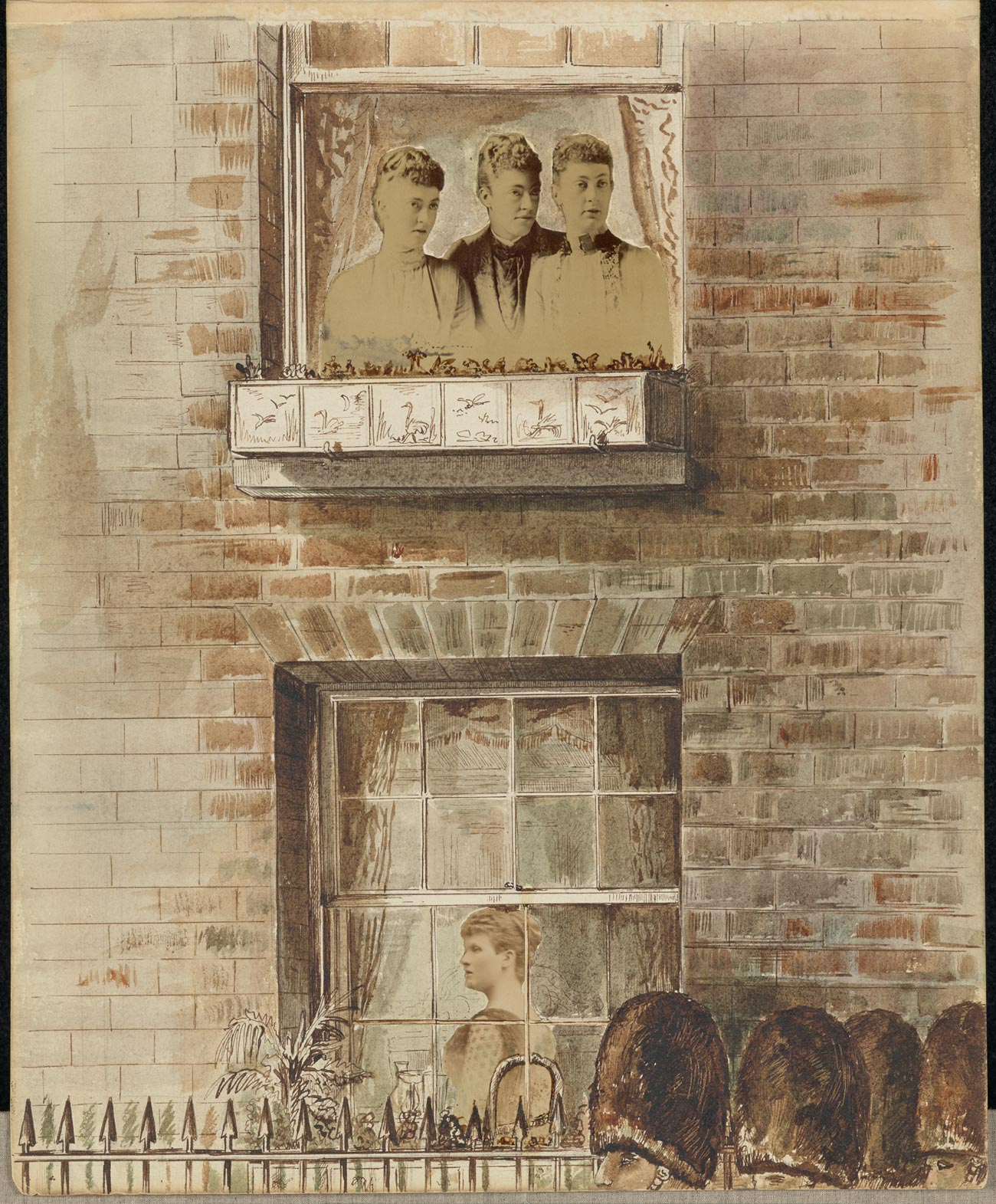 Mixed media, a drawing of two windows, 1st and 2nd floor, with cutouts of photographs of women in the windows. British guardsmen walk by, seen only by their tall hats.