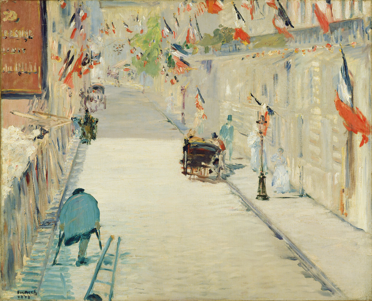Painting of a mostly empty street lined with French flags. A person with one leg walks up the street with crutches. A carriage is further up the street, with several people standing beside it.