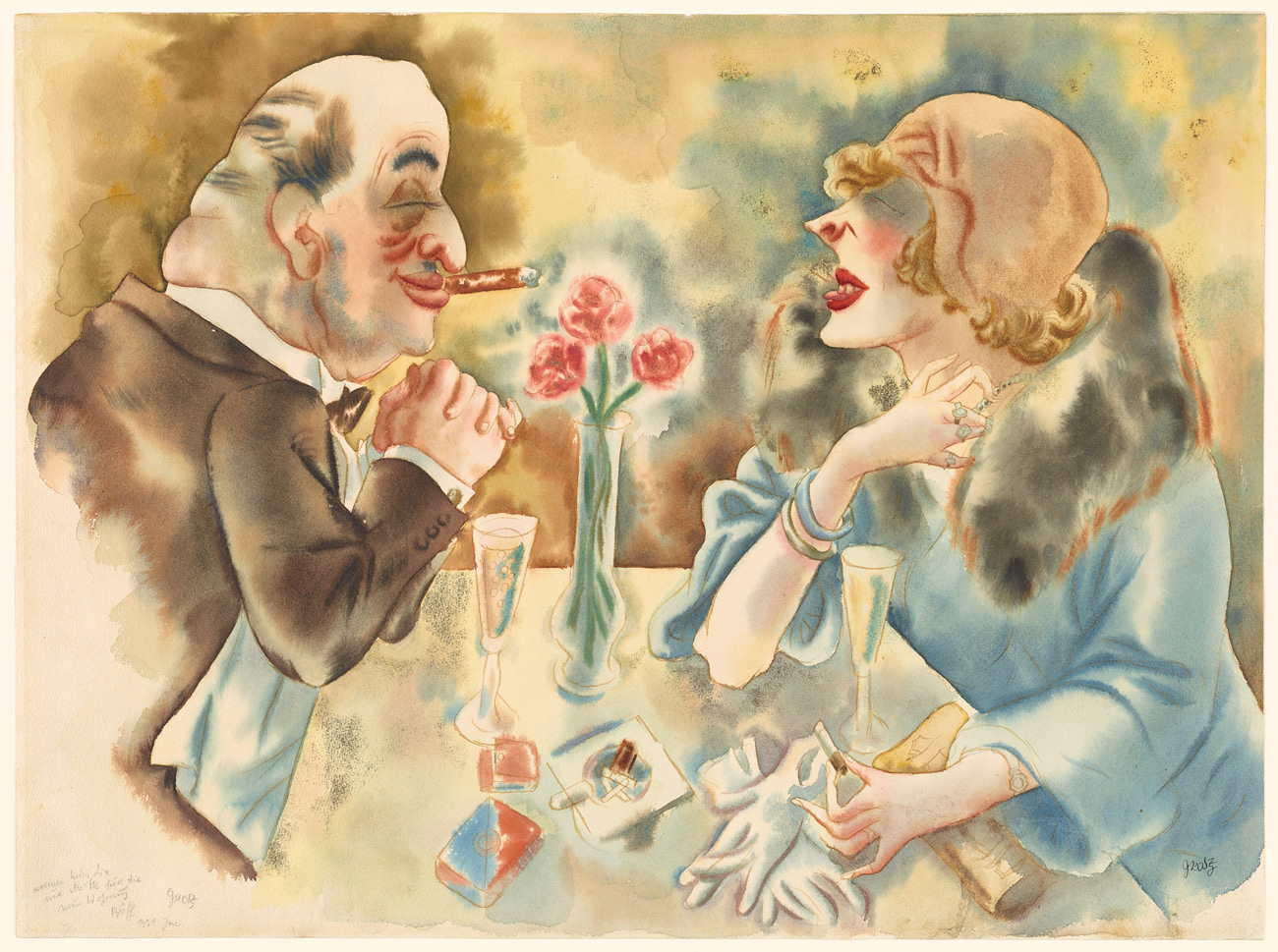 A balding man with a cigar faces a woman wearing a hat and stole over a table holding a vase with three red blooms